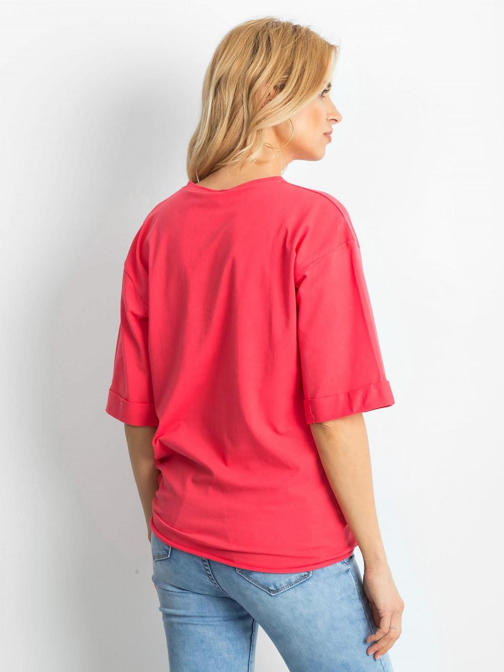 Koralowy oversizeowy t-shirt Gimmie 4