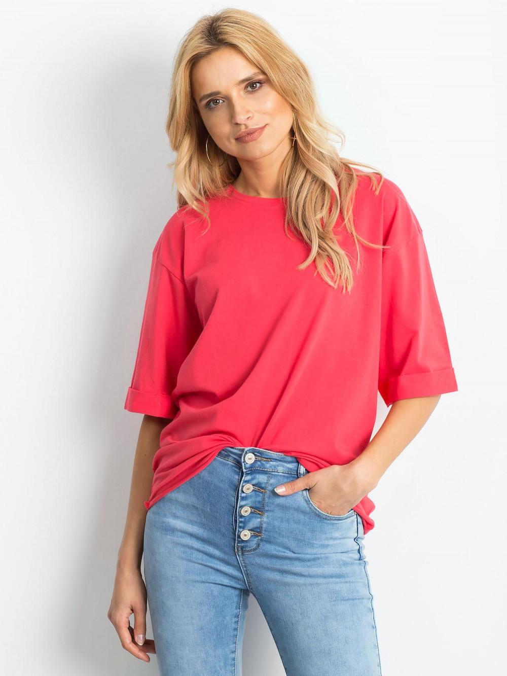 Koralowy oversizeowy t-shirt Gimmie 1