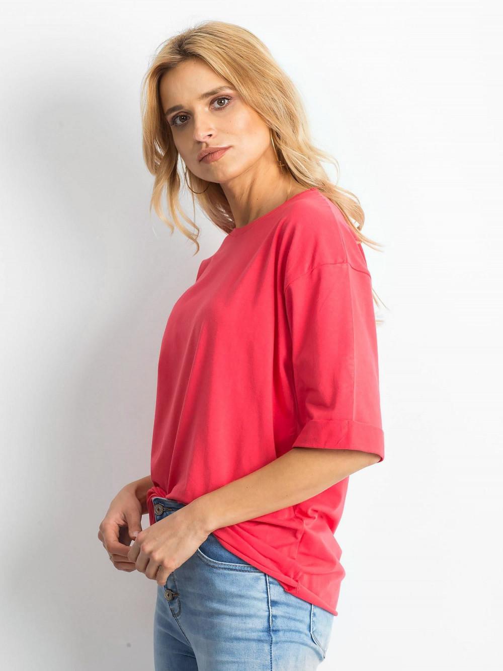 Koralowy oversizeowy t-shirt Gimmie 2