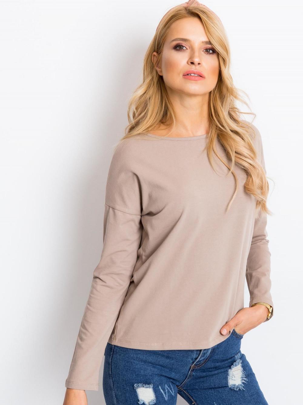 Ciemnobeżowa bluzka z długim rękawem Says 4