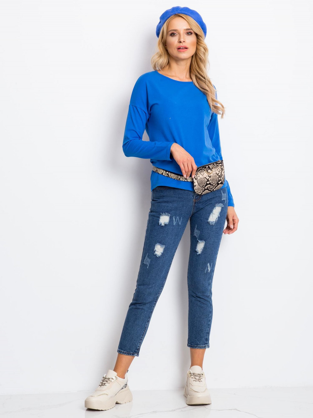 Niebieska bluzka z długim rękawem Says 4