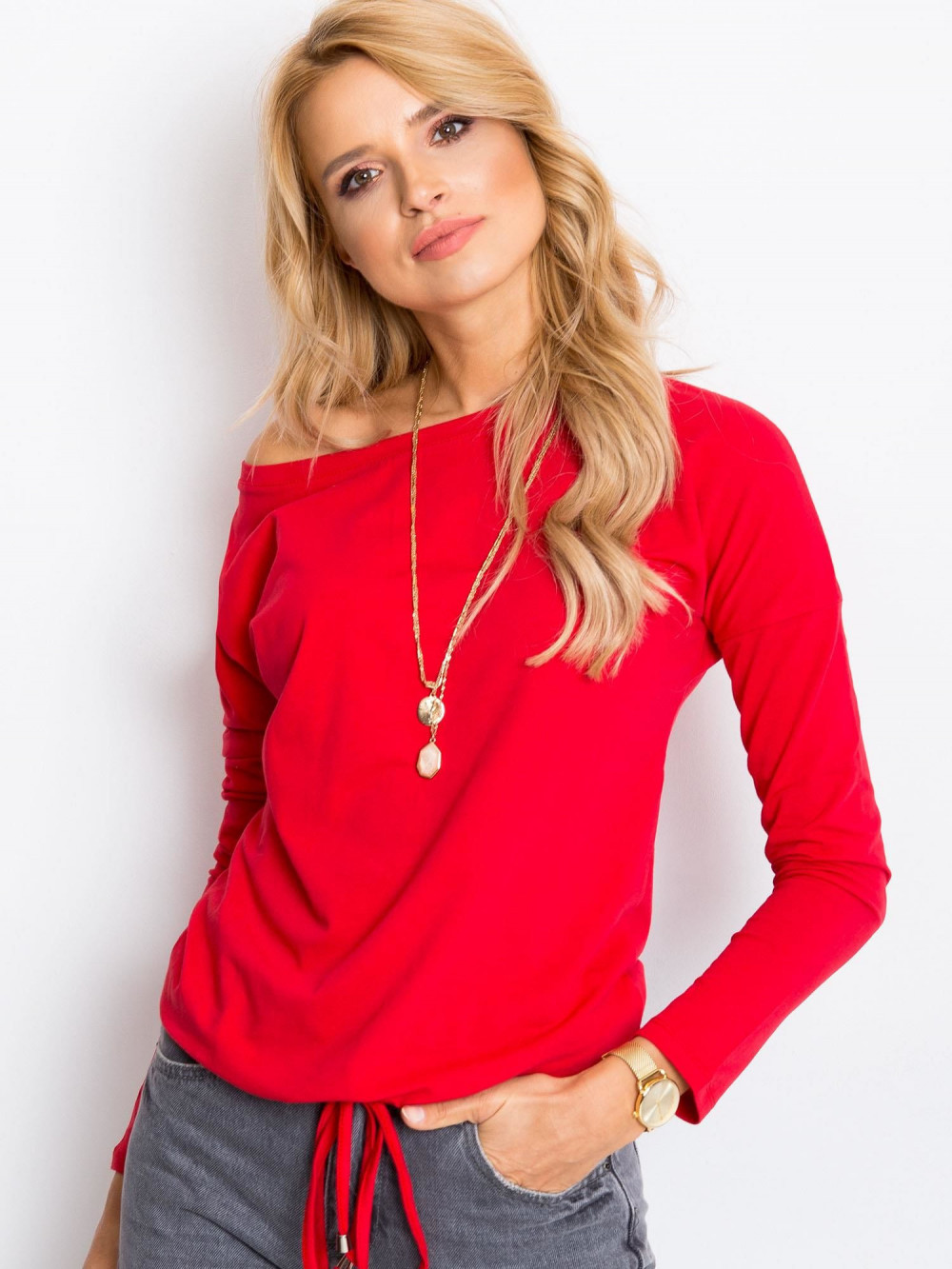 Czerwona bluzka ze ściągaczem Nadir 1