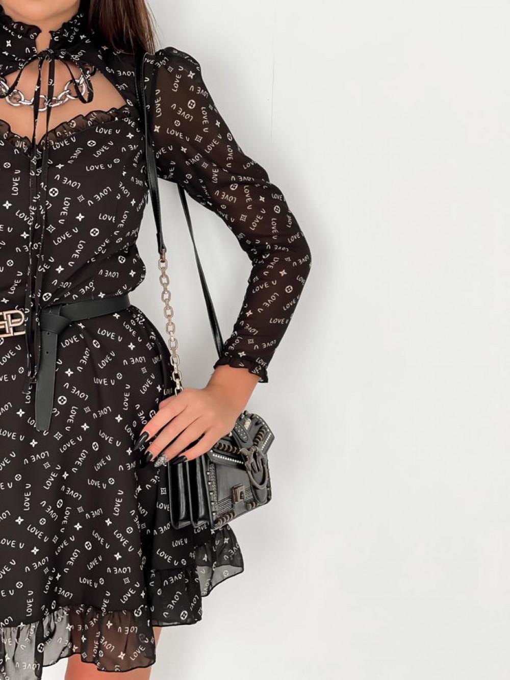 Czarna sukienka szyfonowa Libra 4