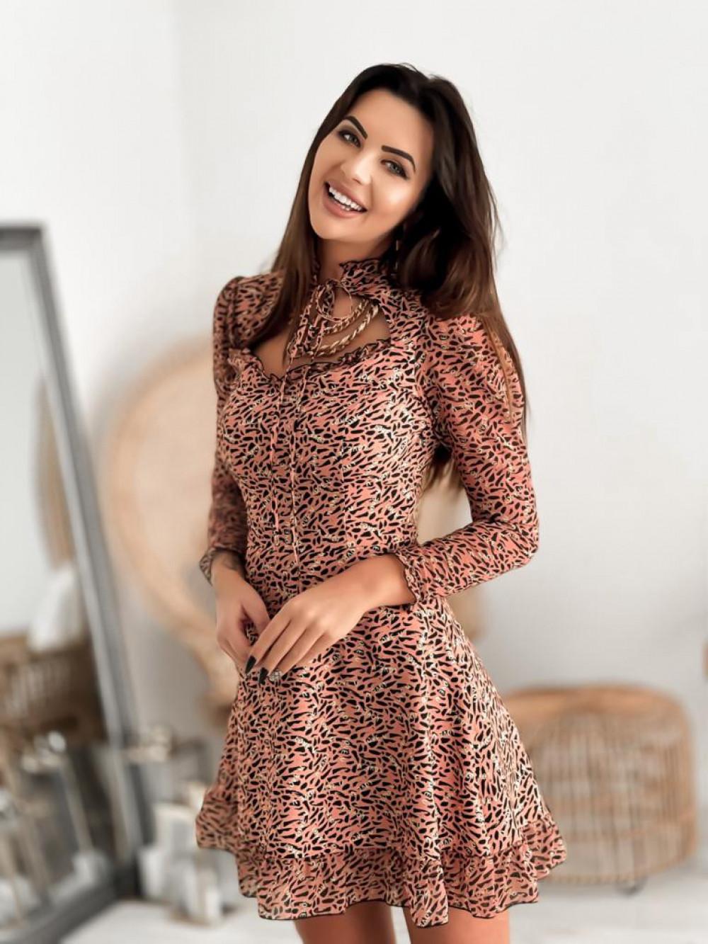 Łososiowa sukienka szyfonowa Libra 4