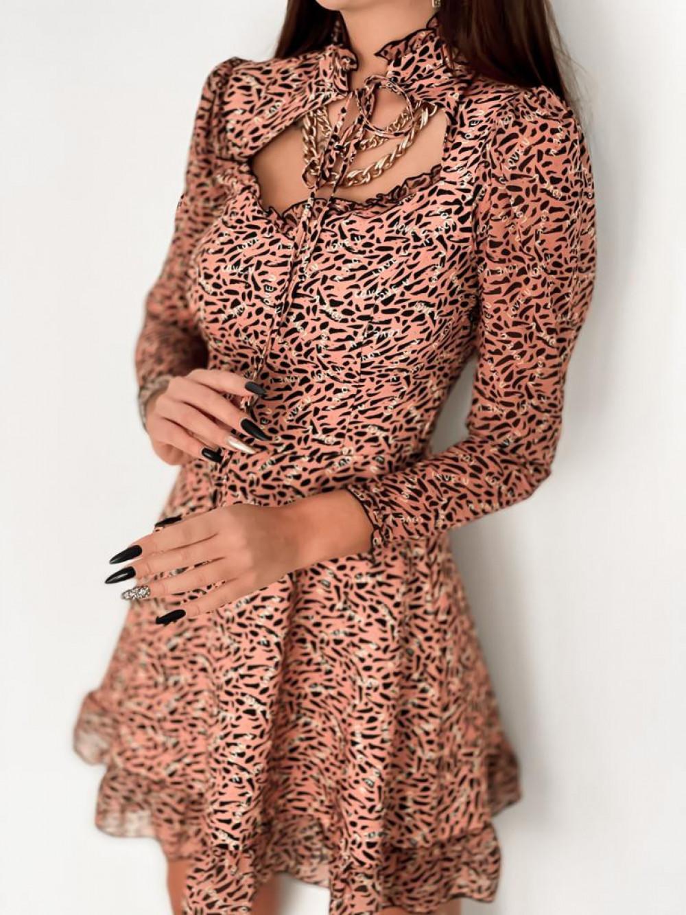 Łososiowa sukienka szyfonowa Libra 5
