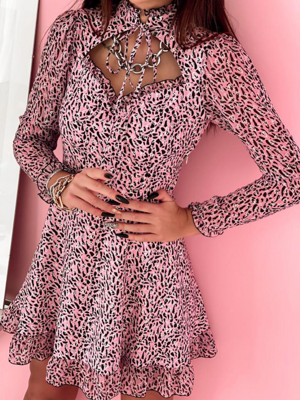 Różowa sukienka szyfonowa Libra 2