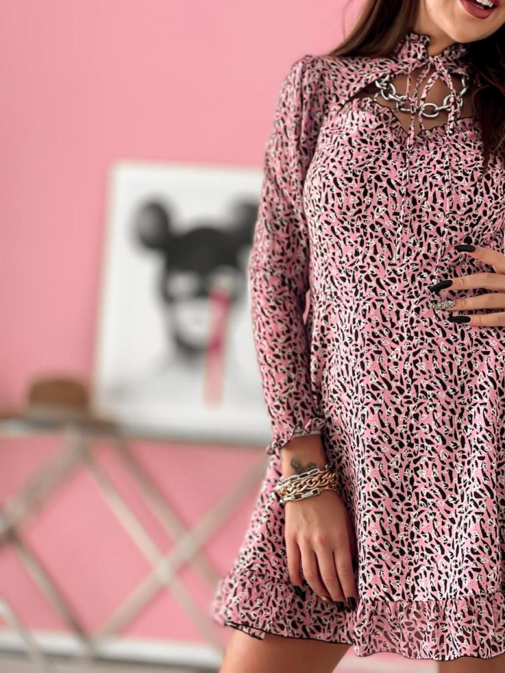 Różowa sukienka szyfonowa Libra 3