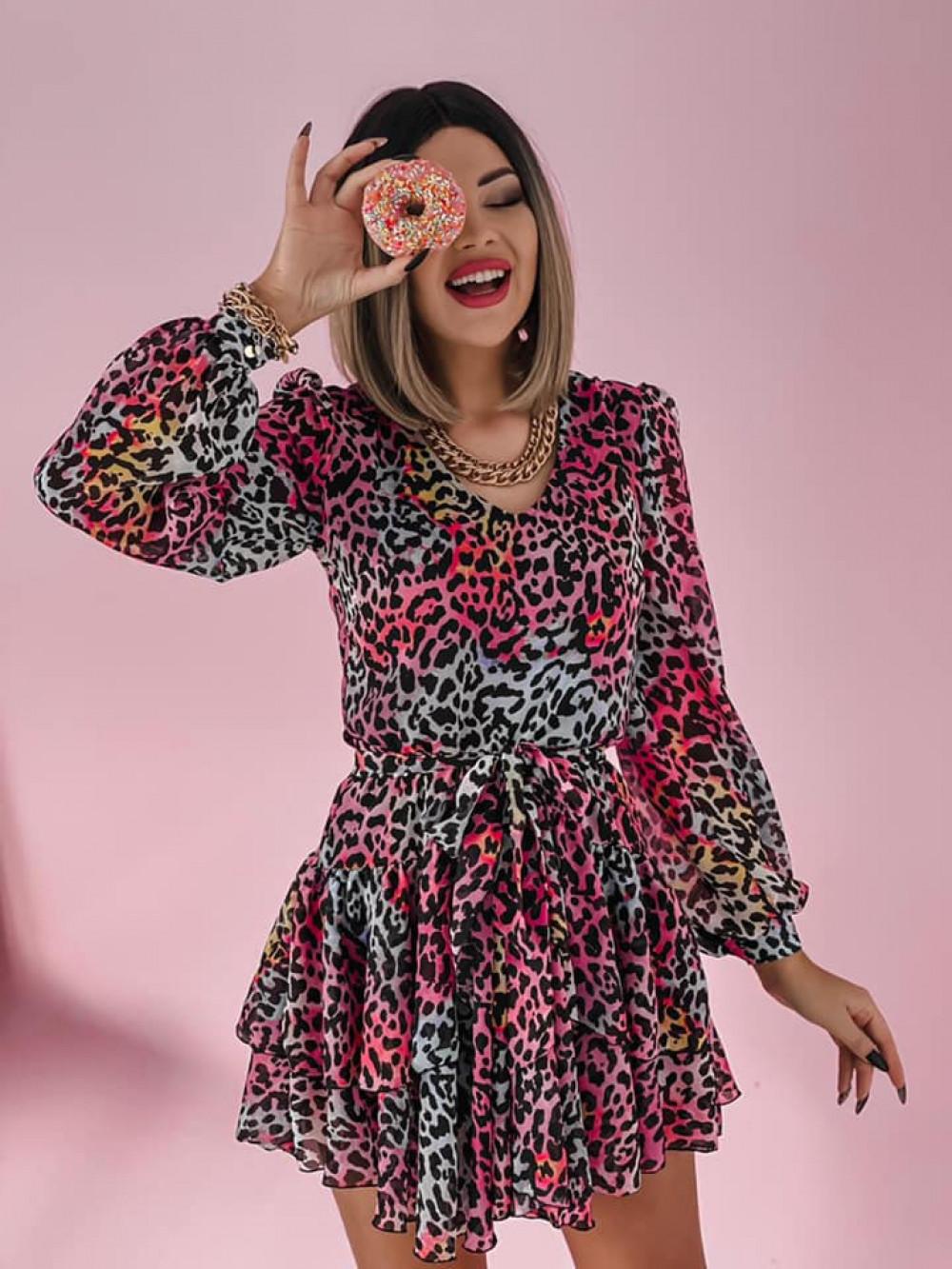 Niebiesko-różowa sukienka szyfonowa rozkloszowana Virgo 3