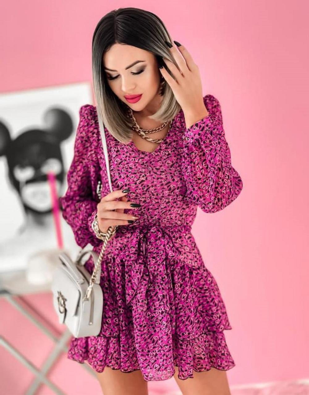 Fuksjowa sukienka szyfonowa rozkloszowana Virgo 1