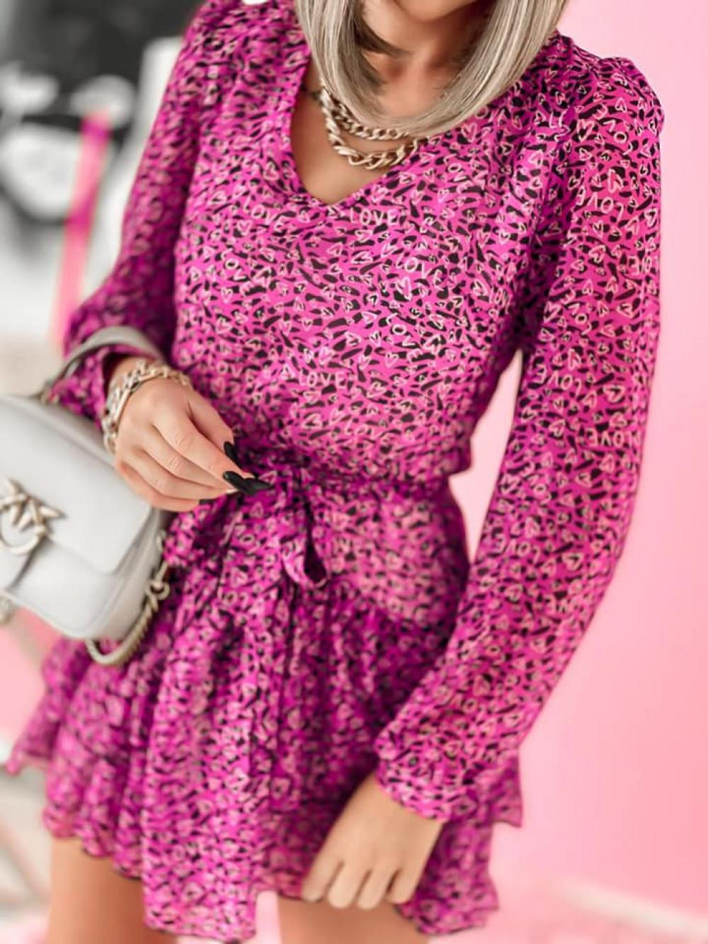 Fuksjowa sukienka szyfonowa rozkloszowana Virgo 5