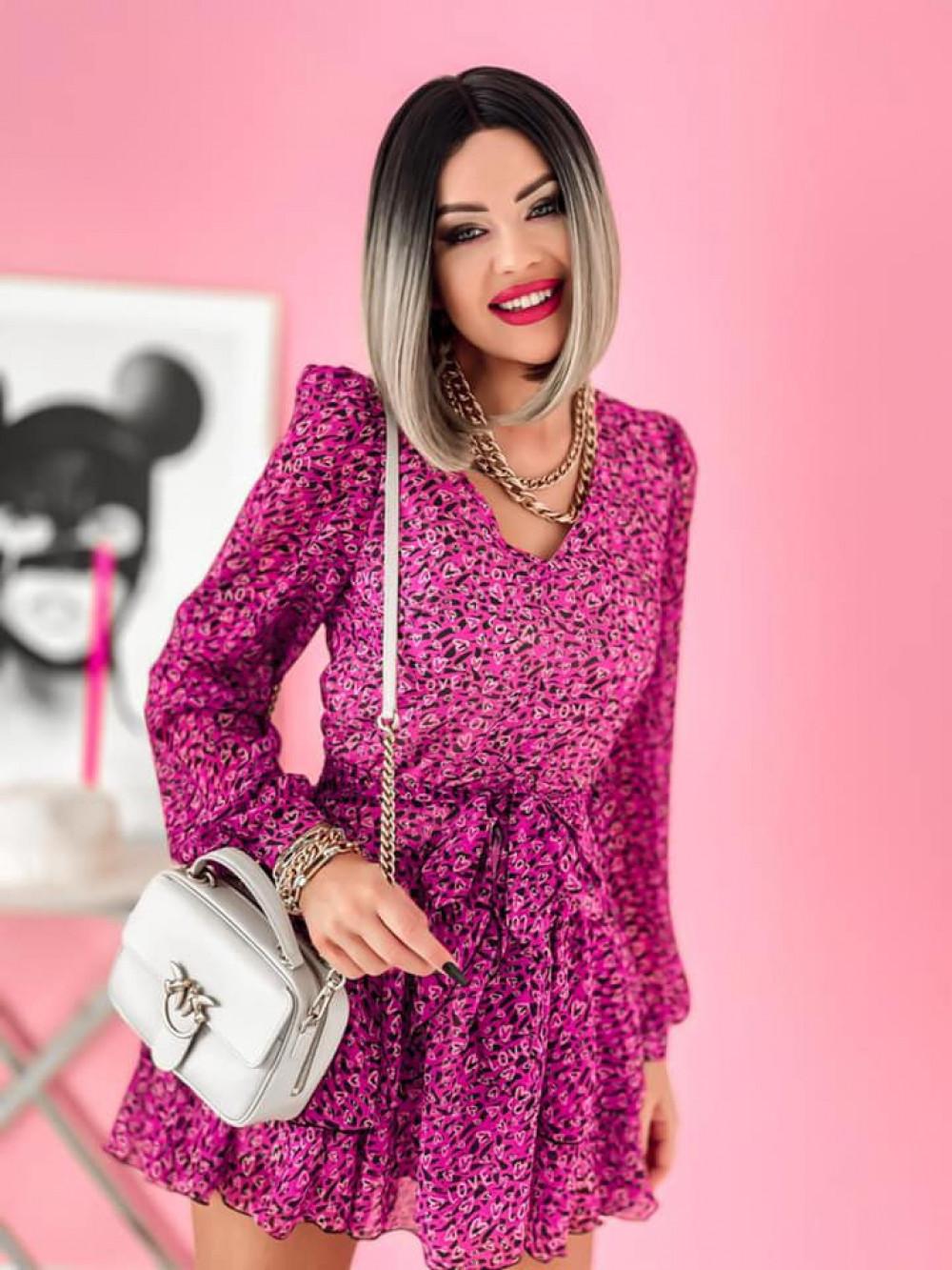 Fuksjowa sukienka szyfonowa rozkloszowana Virgo 2