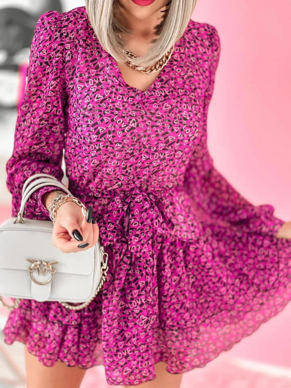 Fuksjowa sukienka szyfonowa rozkloszowana Virgo 4