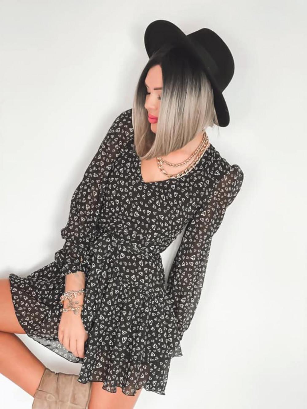 Czarna sukienka szyfonowa rozkloszowana Virgo 4