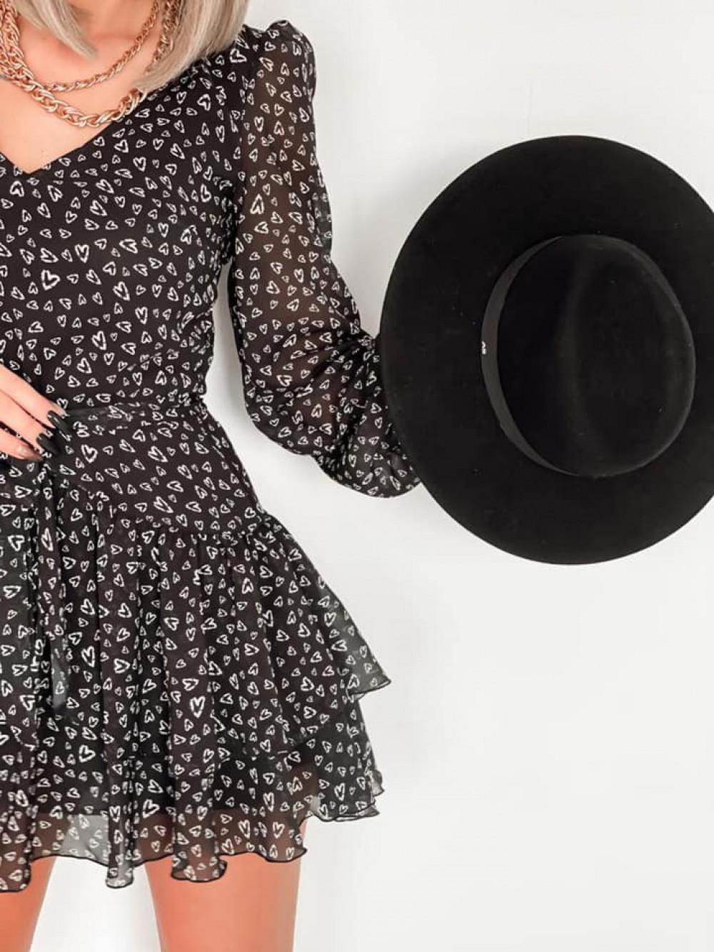 Czarna sukienka szyfonowa rozkloszowana Virgo 5