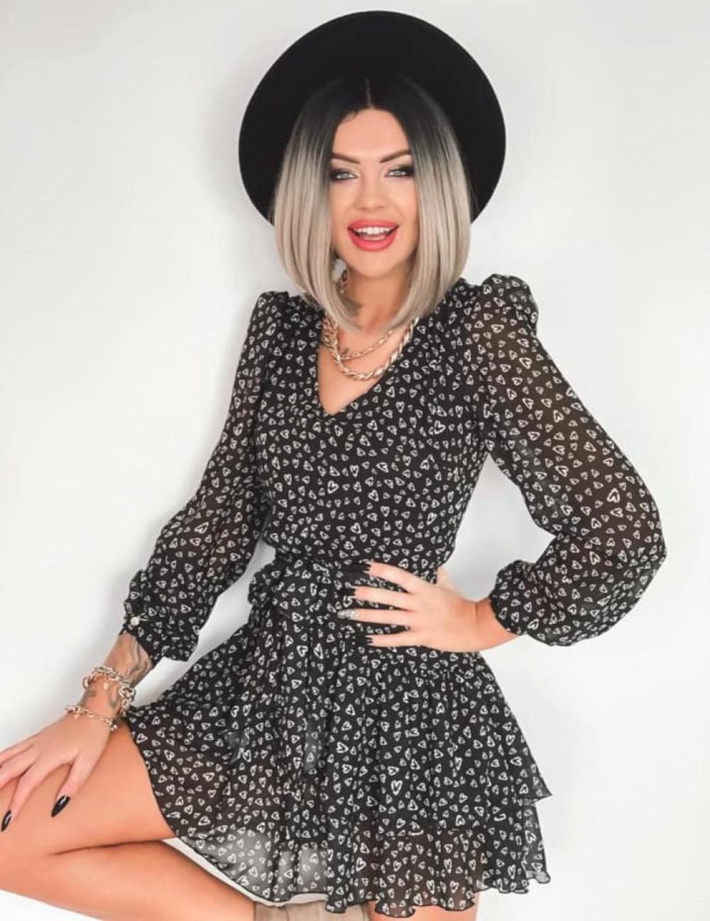 Czarna sukienka szyfonowa rozkloszowana Virgo 1