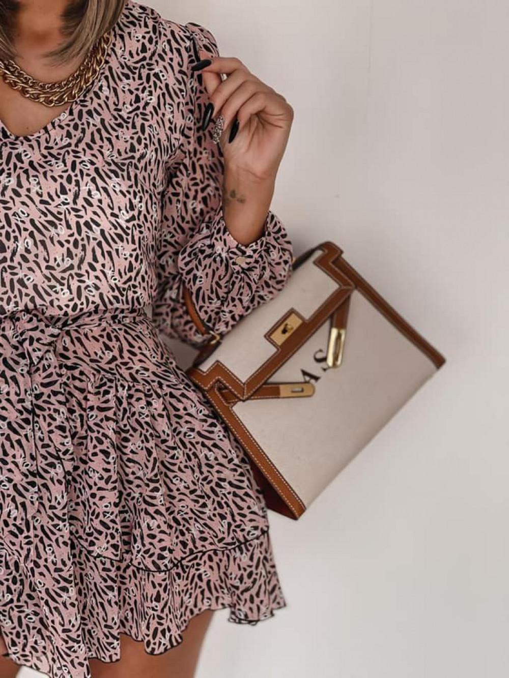 Łososiowa sukienka szyfonowa rozkloszowana Virgo 4