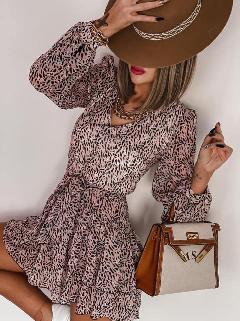 Łososiowa sukienka szyfonowa rozkloszowana Virgo 2