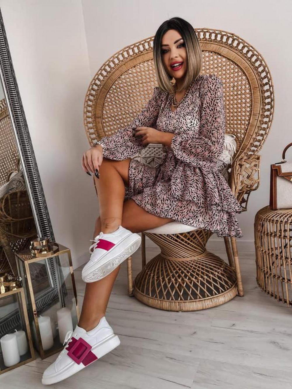 Łososiowa sukienka szyfonowa rozkloszowana Virgo 3