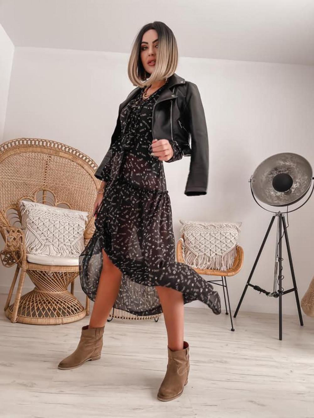 Czarna sukienka szyfonowa maxi Scorpio 6