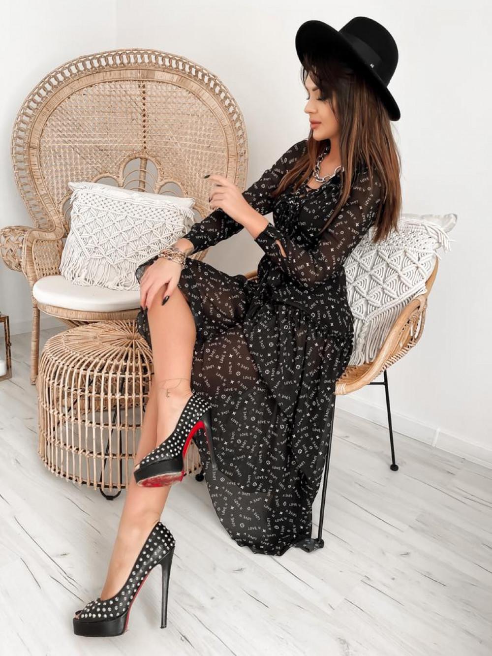 Czarna sukienka szyfonowa maxi Scorpio 3