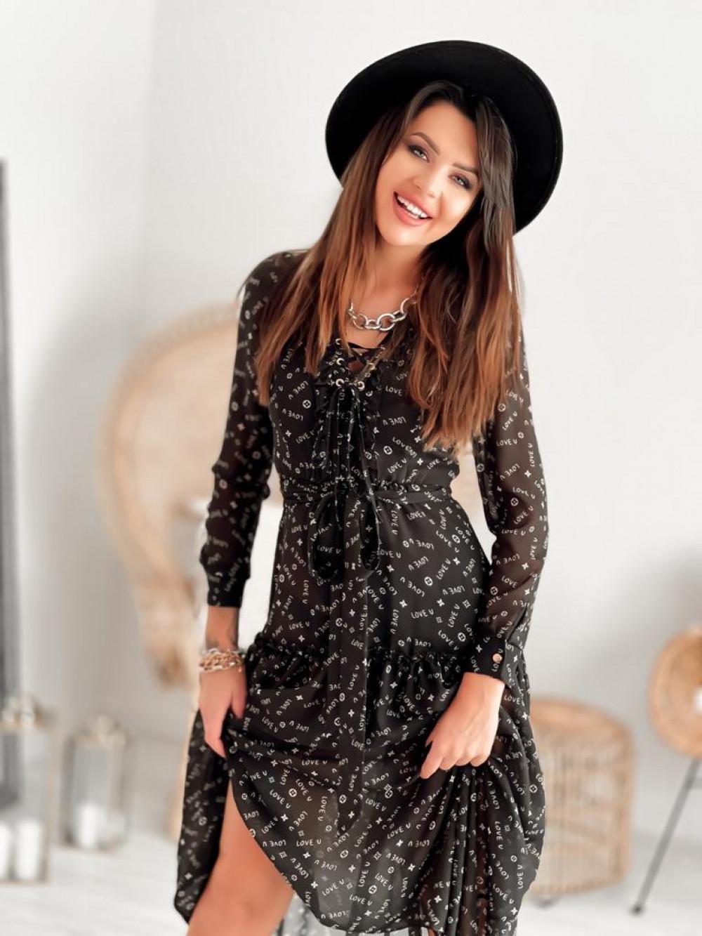 Czarna sukienka szyfonowa maxi Scorpio 2
