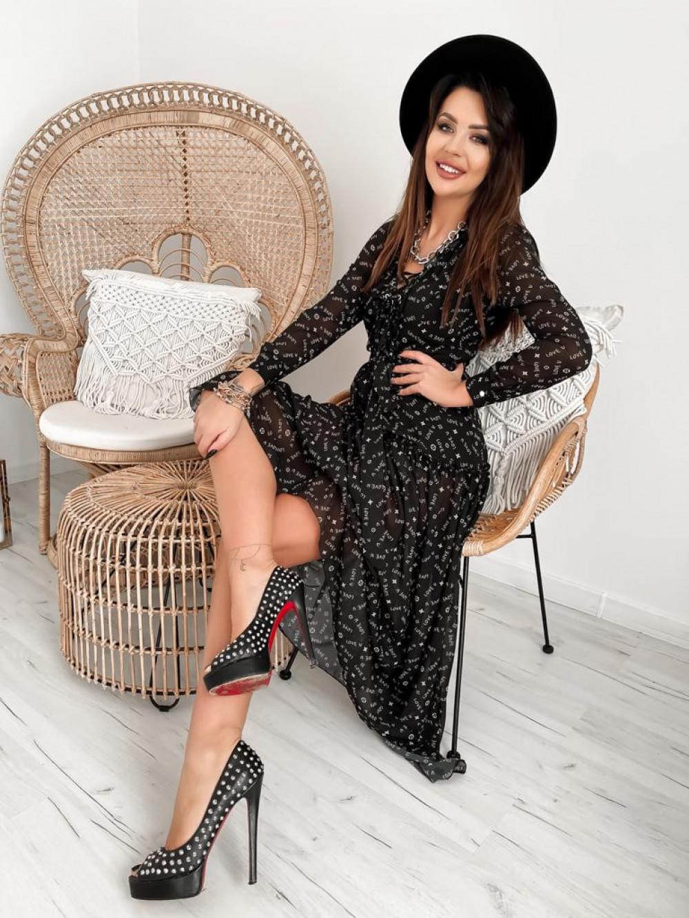 Czarna sukienka szyfonowa maxi Scorpio 1
