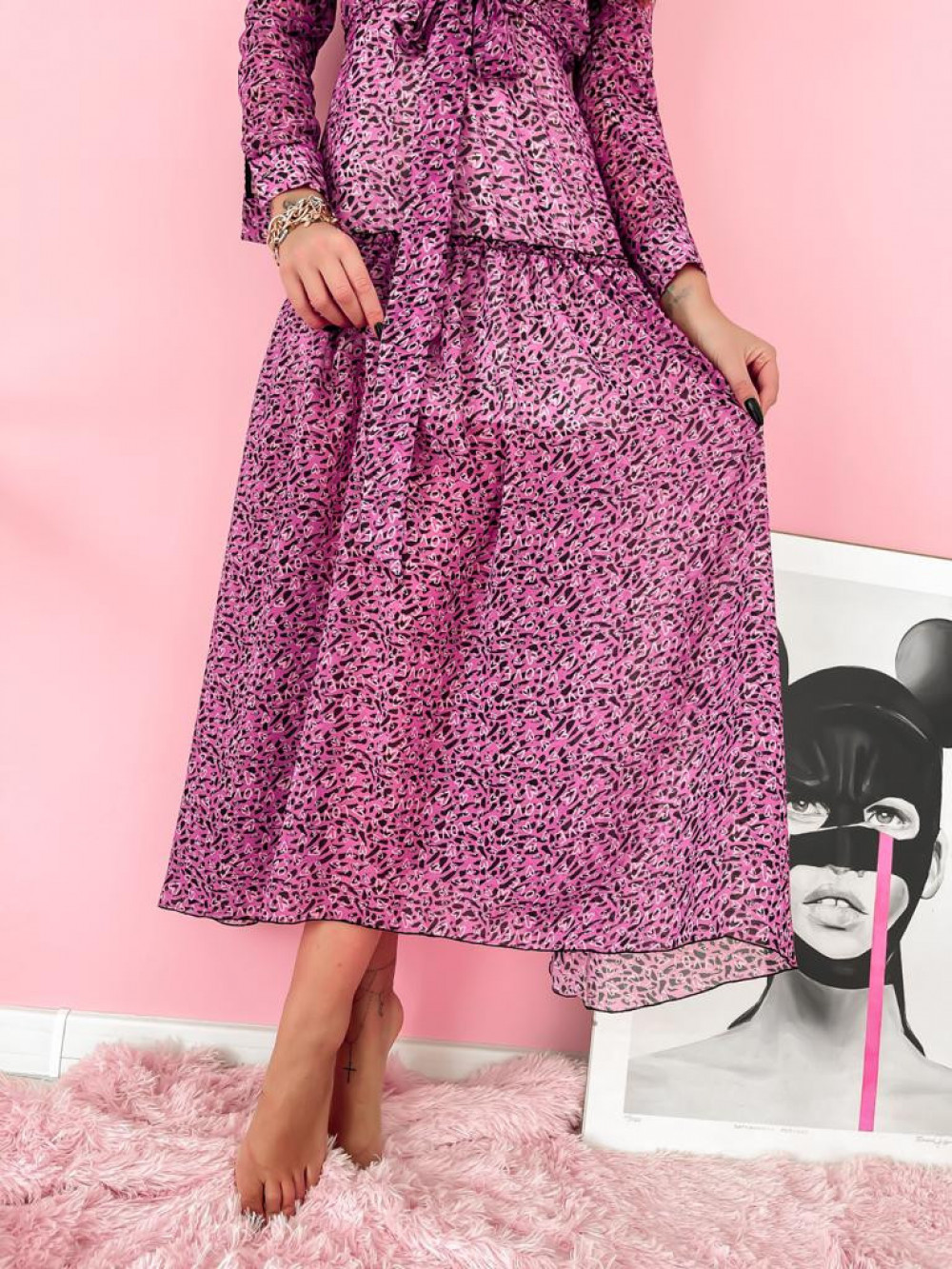 Fuksjowa sukienka szyfonowa maxi Scorpio 5