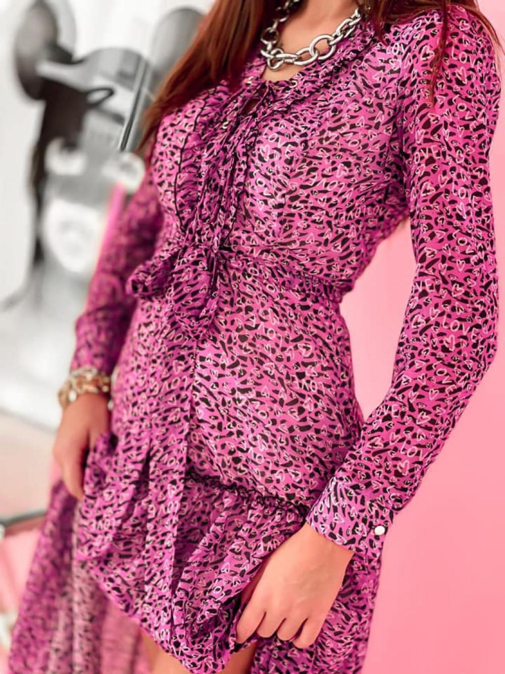 Fuksjowa sukienka szyfonowa maxi Scorpio 3