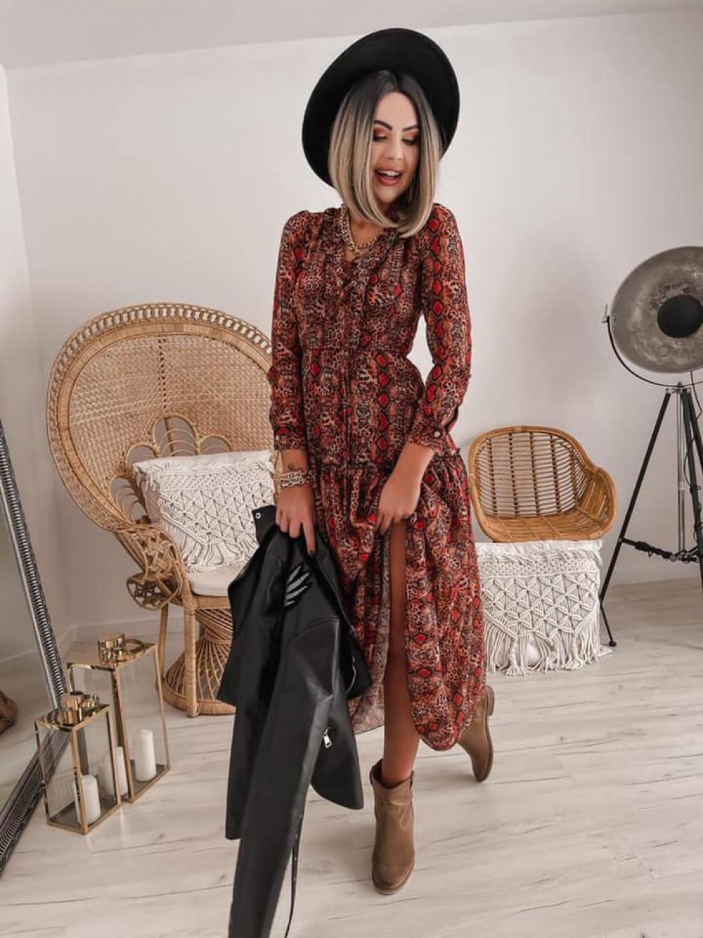 Wężowa sukienka szyfonowa maxi Scorpio 2