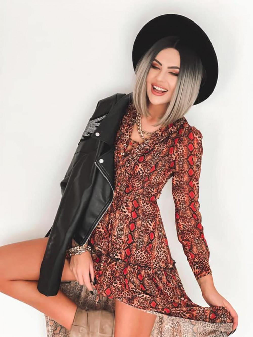Wężowa sukienka szyfonowa maxi Scorpio 3