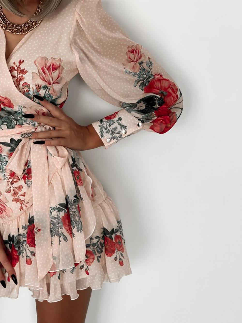 Pudrowo różowa sukienka szyfonowa w kwiaty Flores 4