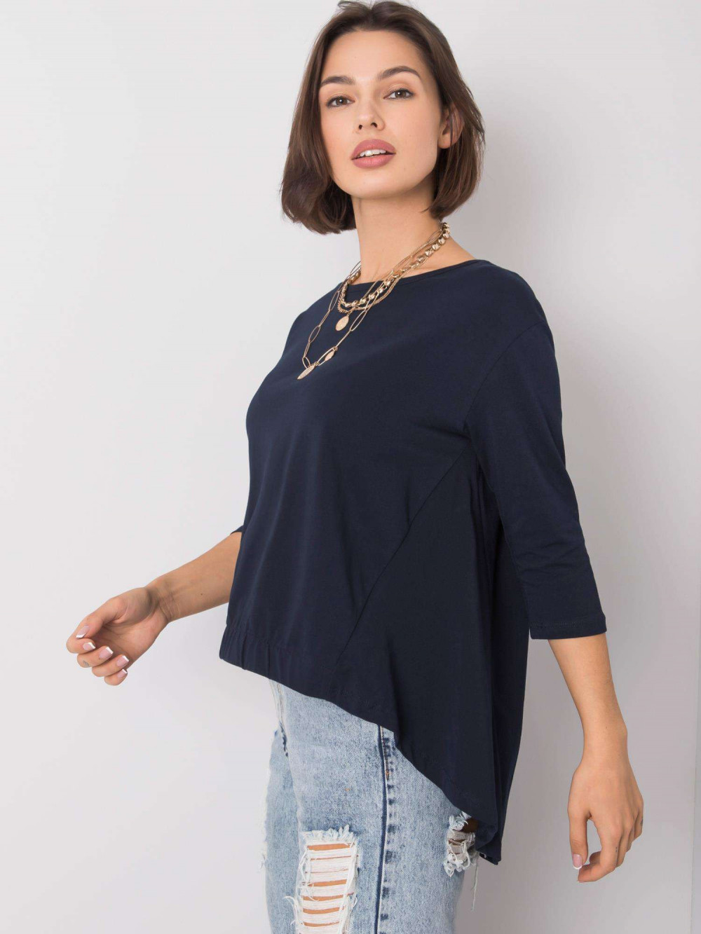 Granatowa asymetryczna bluzka Semas 2