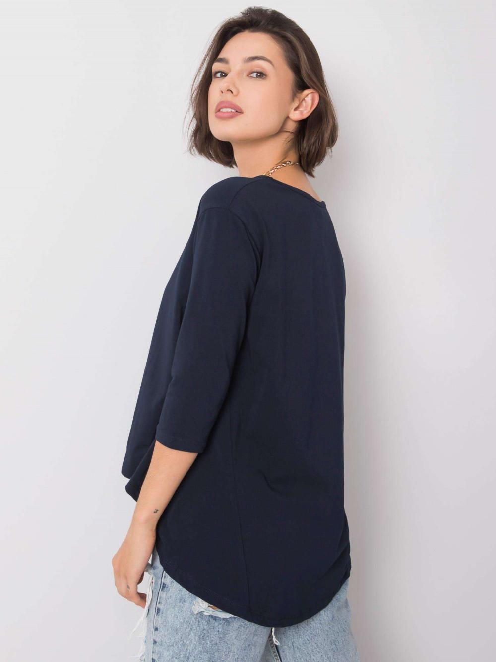 Granatowa asymetryczna bluzka Semas 4