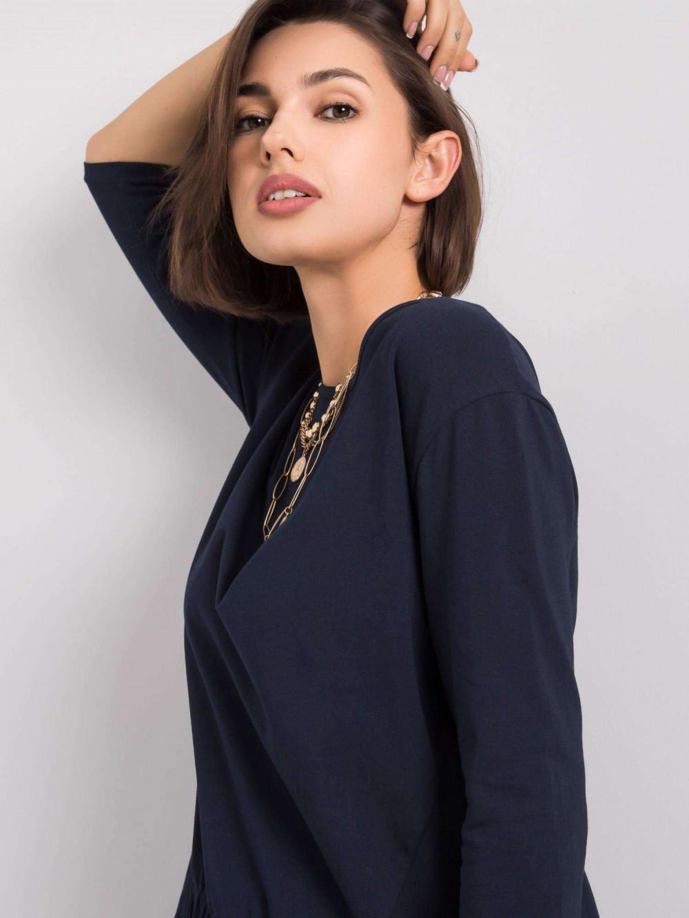 Granatowa asymetryczna bluzka Semas 3