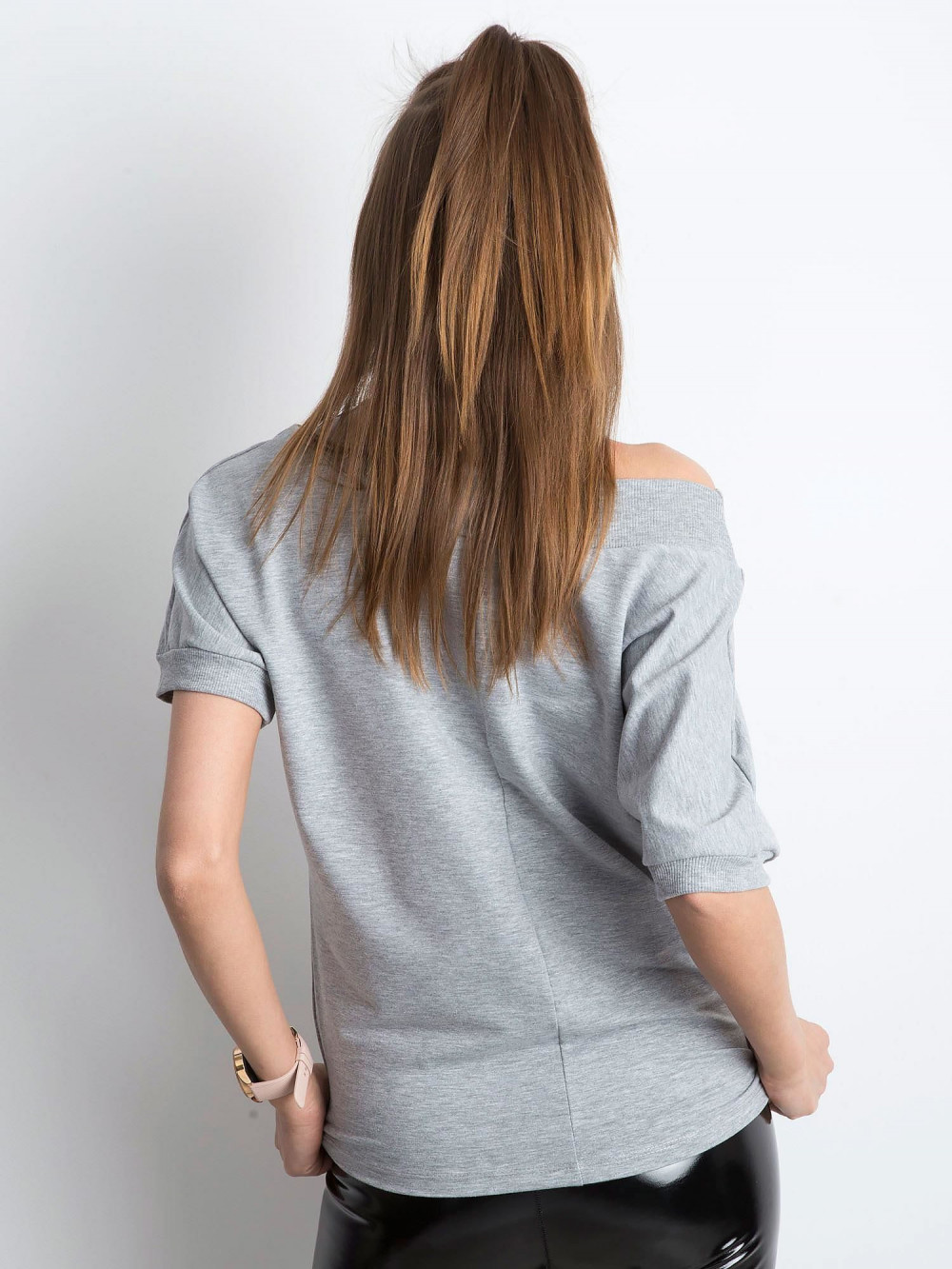 Szara bluzka z ściągaczami Mossa 4