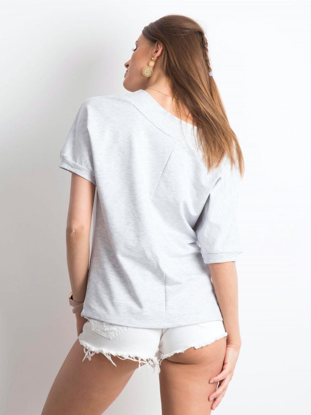 Jasnoszara bluzka z ściągaczami Mossa 3