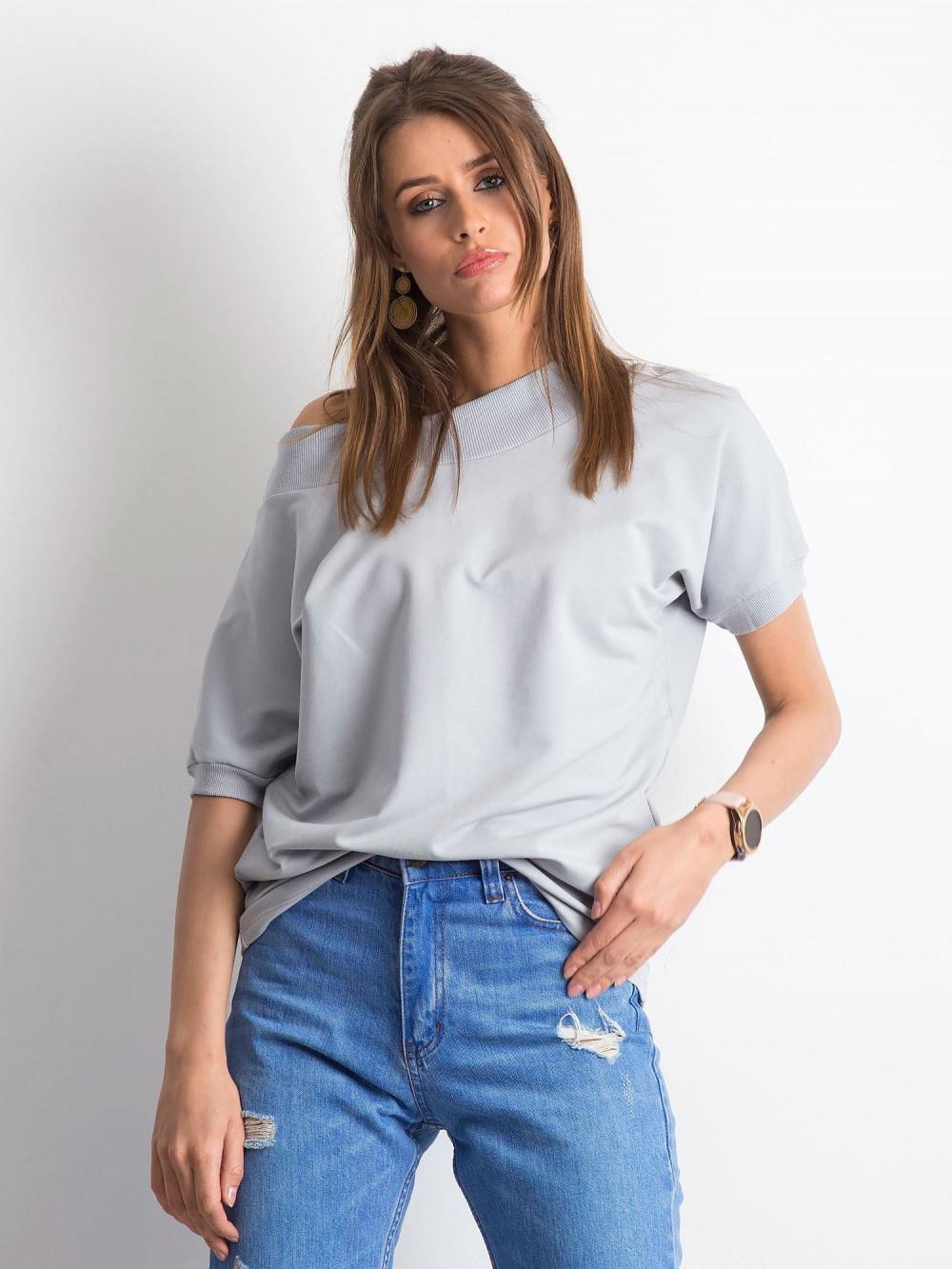 Jasnografitowa bluzka z ściągaczami Mossa 1