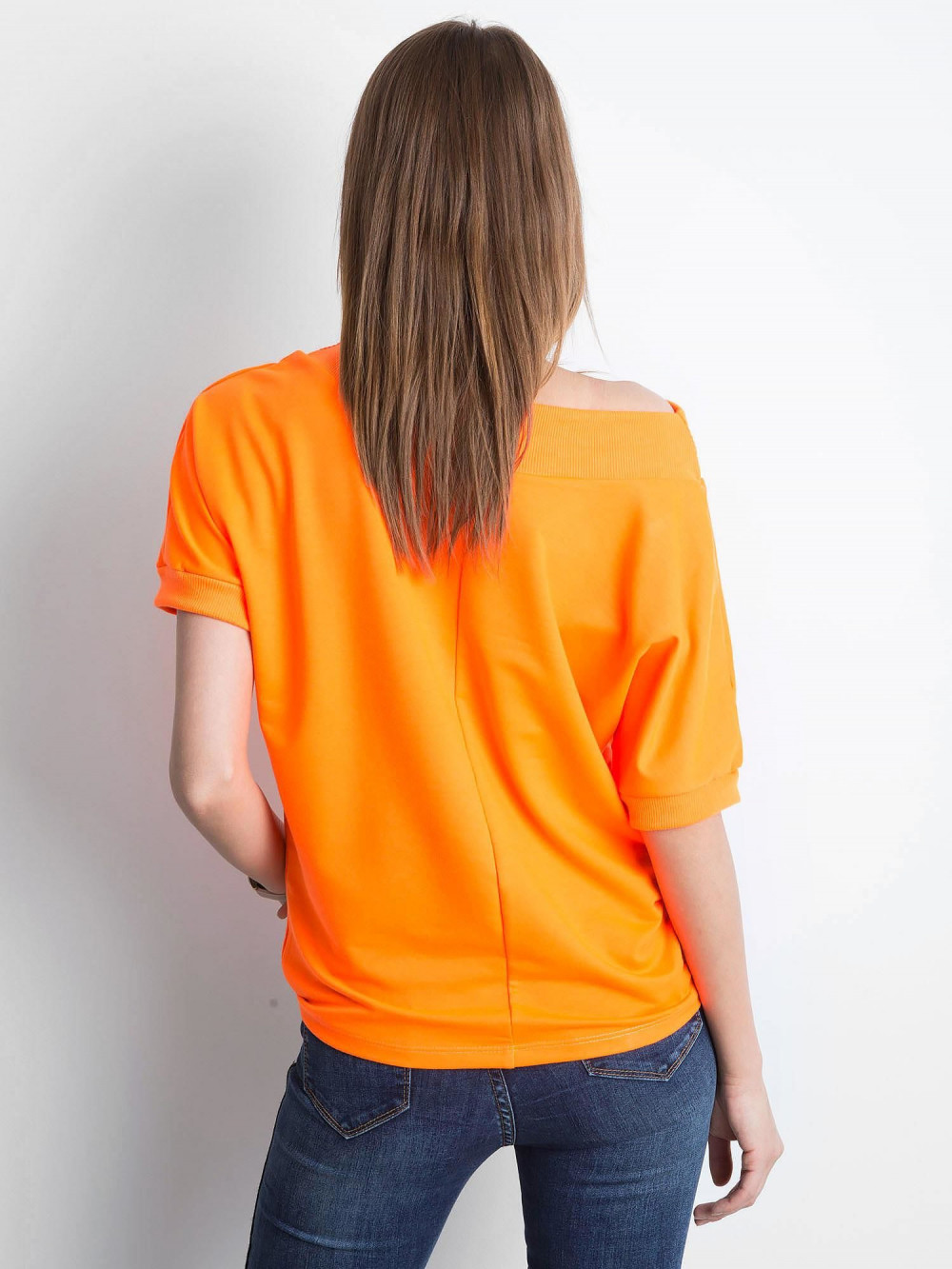 Neonowo pomarańczowa bluzka z ściągaczami Mossa 4