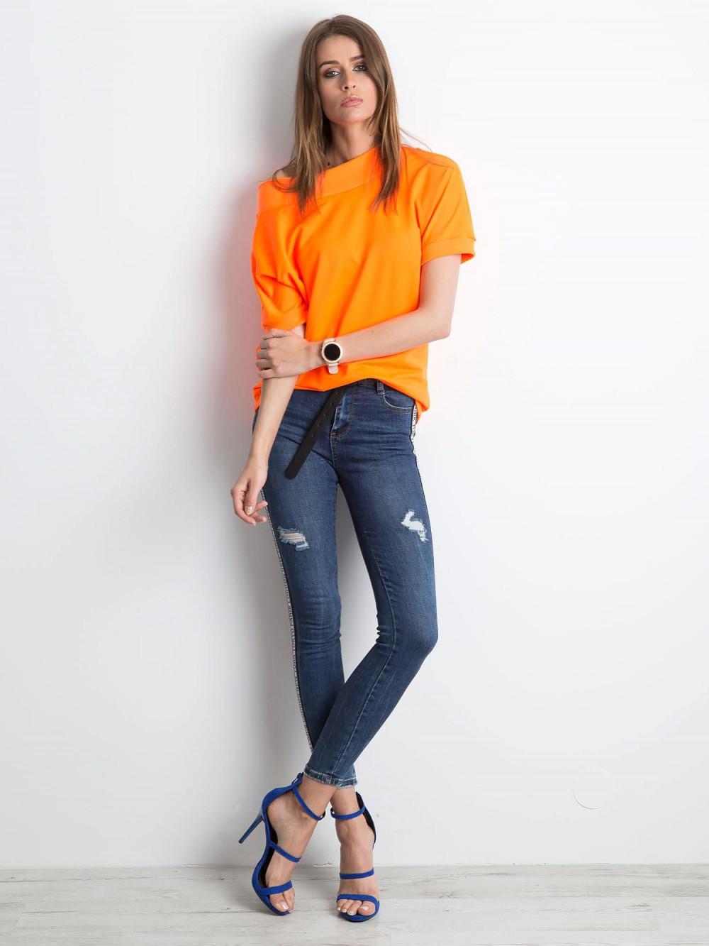 Neonowo pomarańczowa bluzka z ściągaczami Mossa 3
