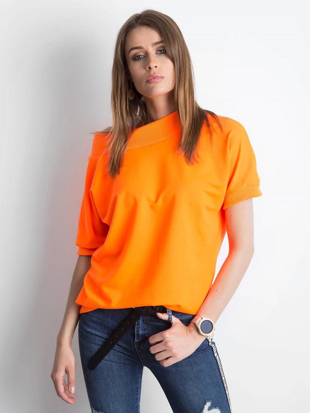 Neonowo pomarańczowa bluzka z ściągaczami Mossa 1