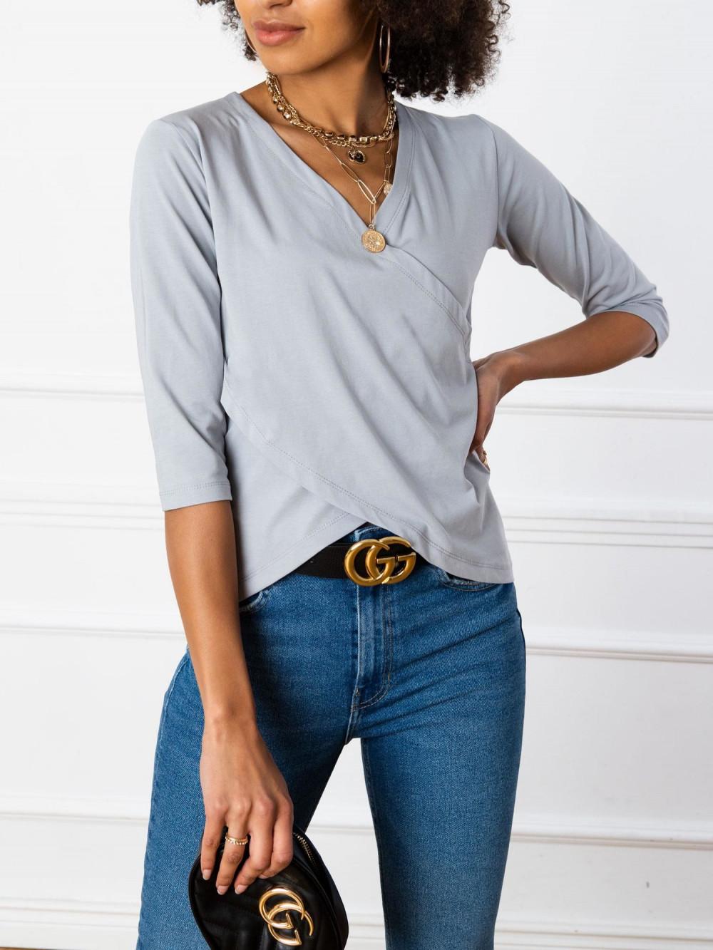 Szara asymetryczna bluzka przekładana Kotis 3