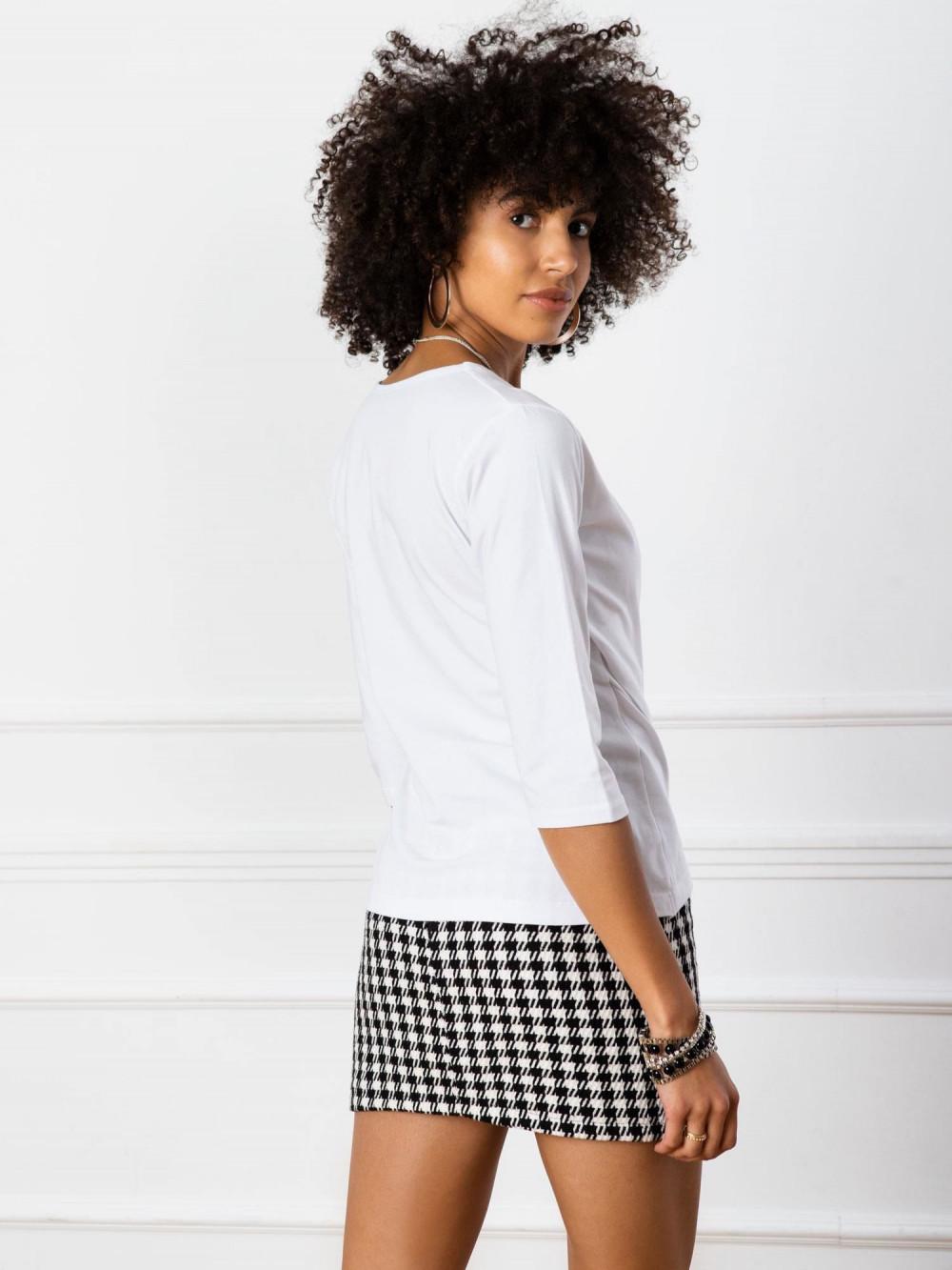 Biała asymetryczna bluzka przekładana Kotis 3
