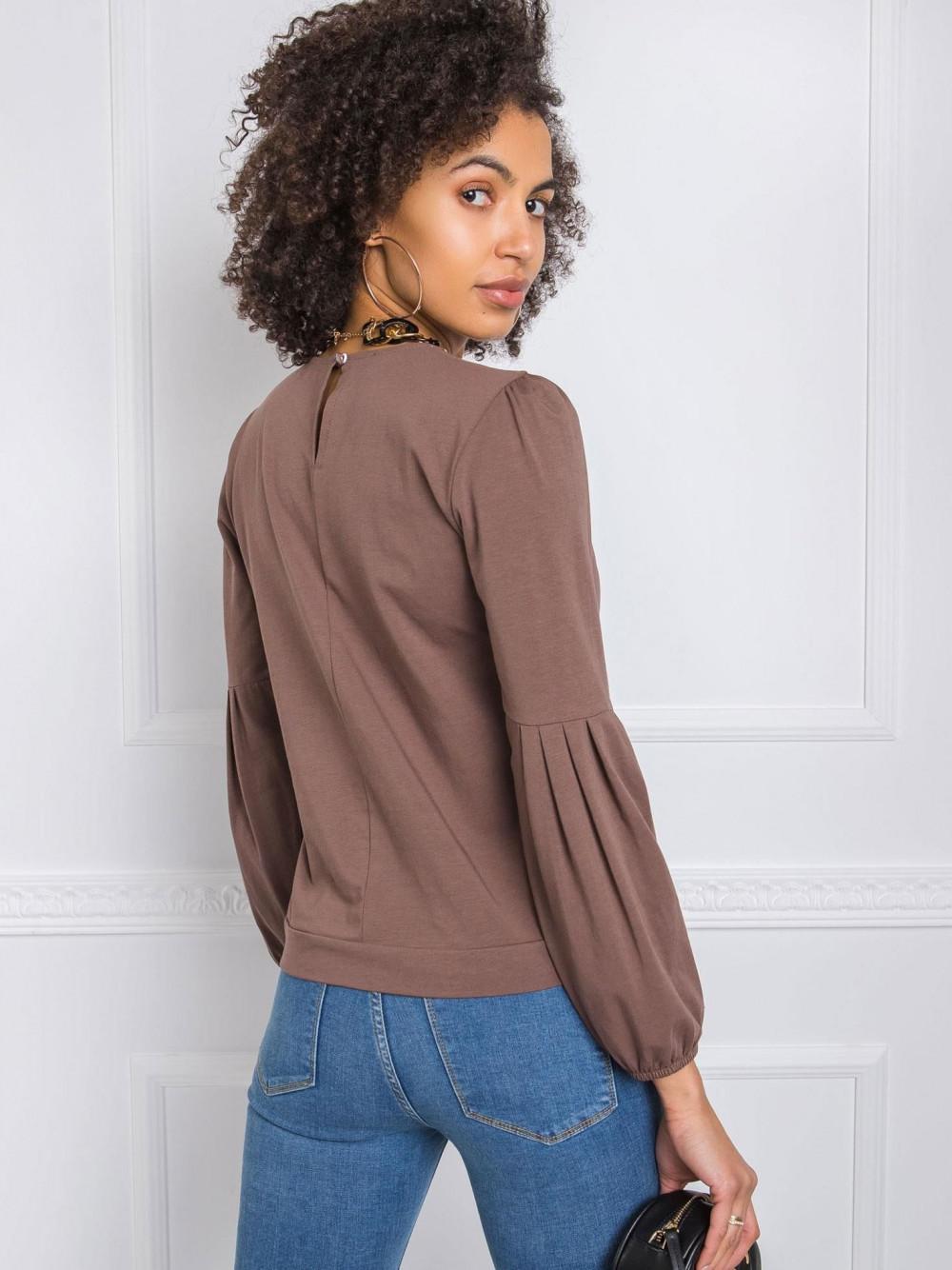 Brązowa bluzka z bufiastym rękawem Faith 2