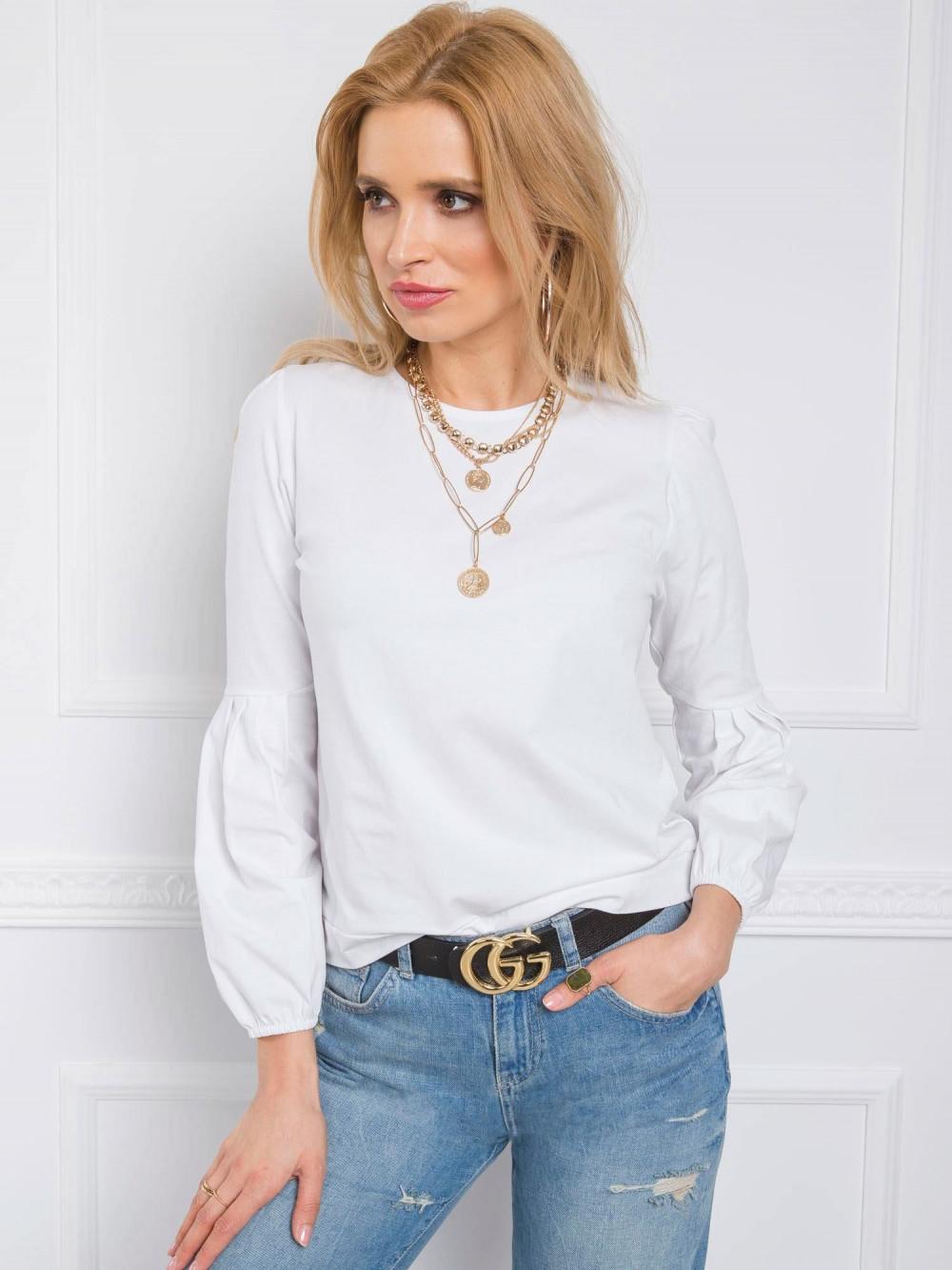 Biała bluzka z bufiastym rękawem Faith 1