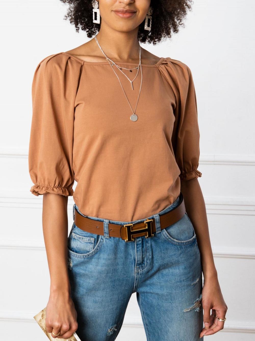 Karmelowa bluzka z bufiastymi rękawami Gavlyn 3