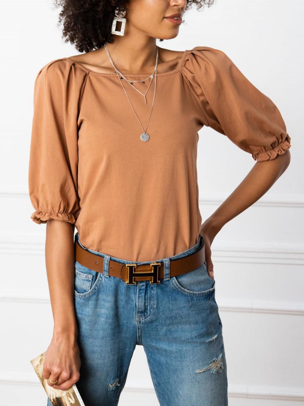 Karmelowa bluzka z bufiastymi rękawami Gavlyn 4