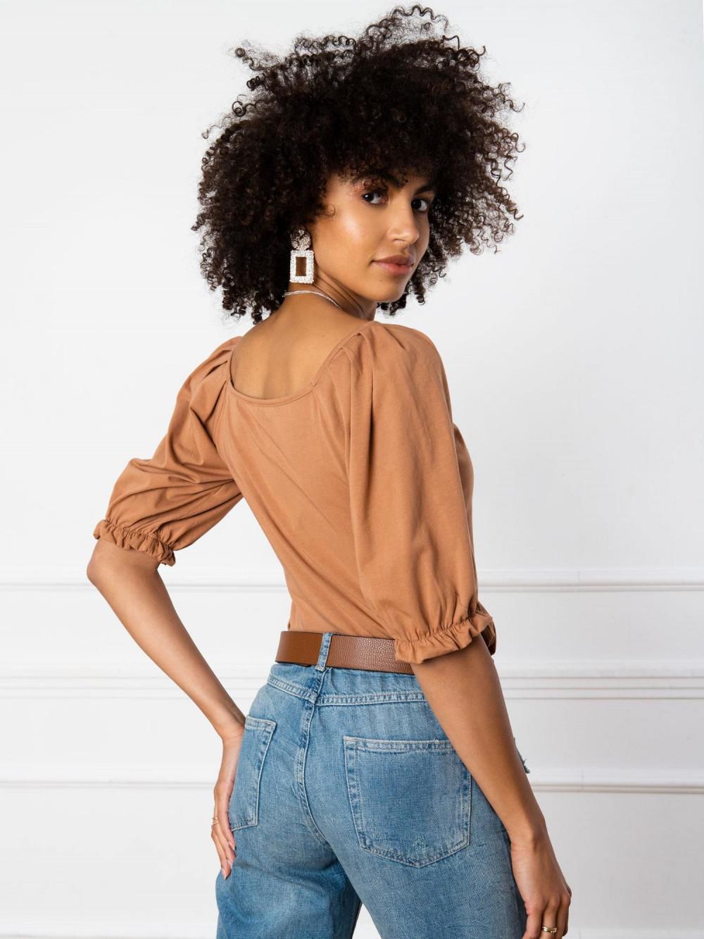 Karmelowa bluzka z bufiastymi rękawami Gavlyn 5