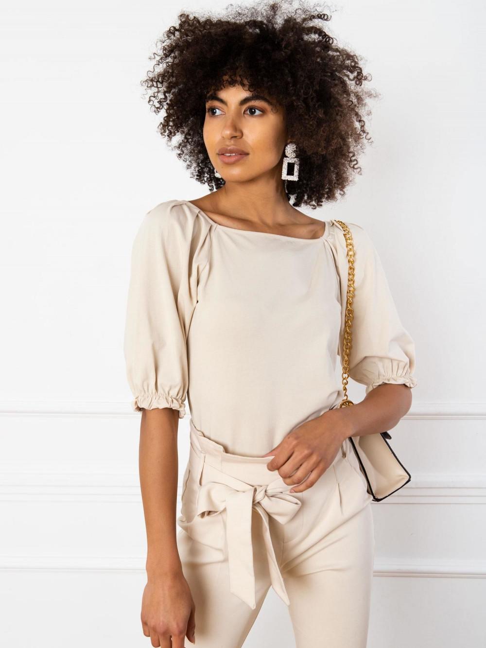 Beżowa bluzka z bufiastymi rękawami Gavlyn 3