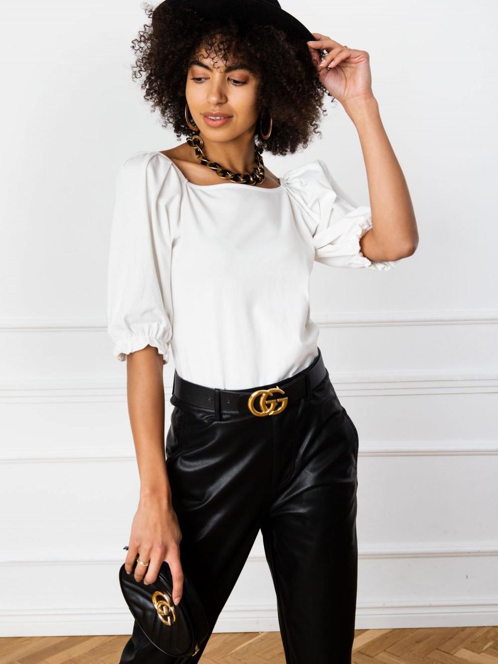 Ecru bluzka z bufiastymi rękawami Gavlyn 1