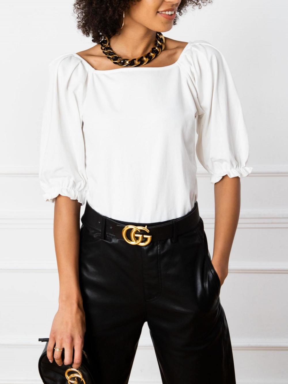 Ecru bluzka z bufiastymi rękawami Gavlyn 2